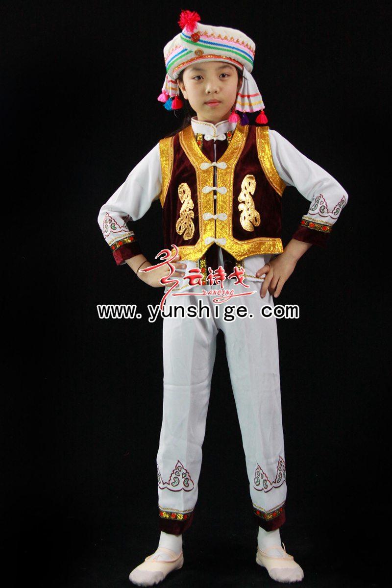 儿童56个少数民族服装儿童白族60663小男精品白-少数民族 人物 服装 图片
